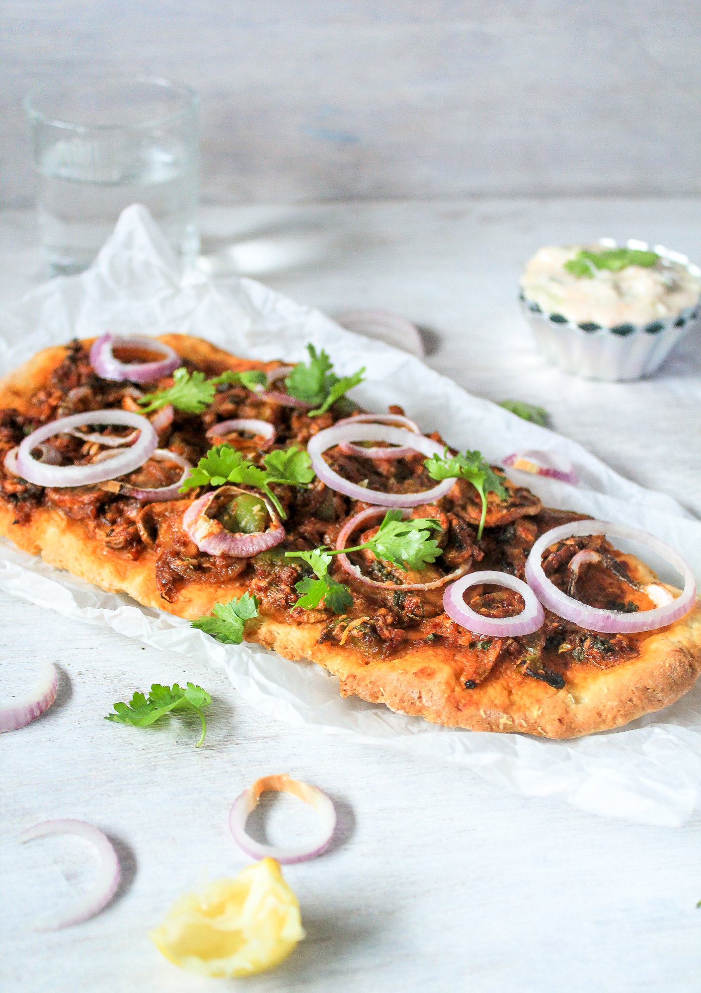 mushroom masala naan pizza full shot side viewthe cupcake confession