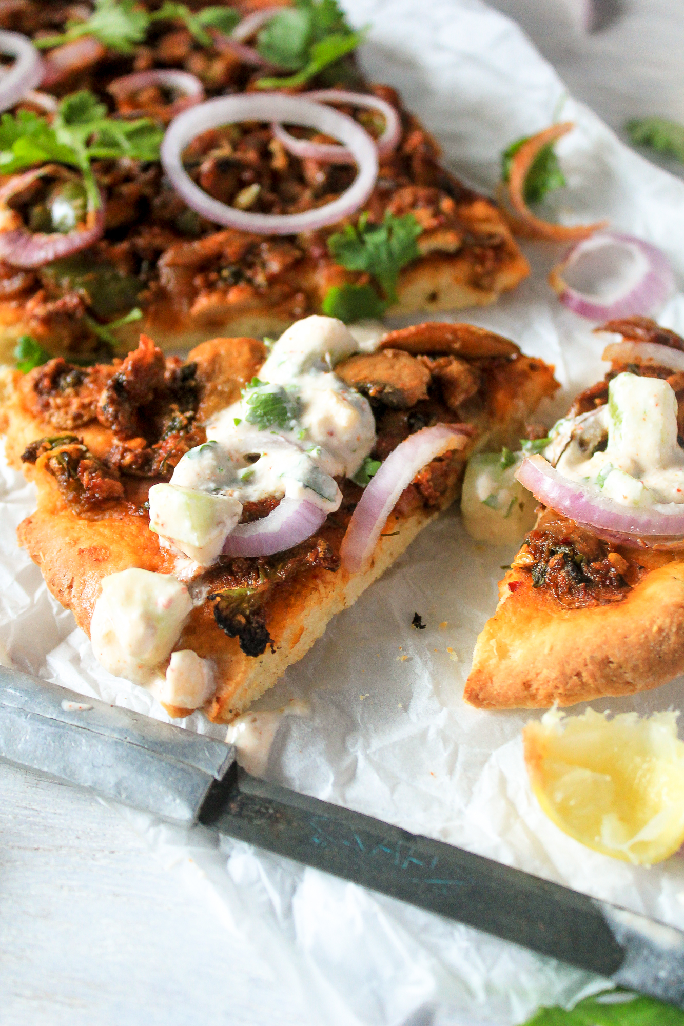 mushroom masala naan pizza full shot with yogurt raita close up part2 the cupcake confession